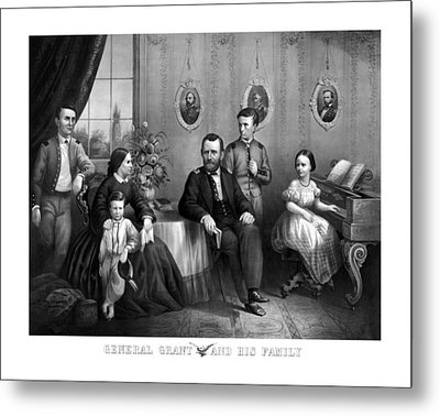 Metal Print featuring the mixed media General Grant And His Family by War Is Hell Store
