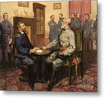 General Grant Meets Robert E Lee  Metal Print by English School