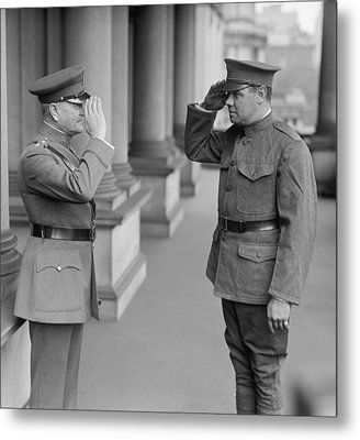 General John Pershing Saluting Babe Ruth Metal Print by War Is Hell Store