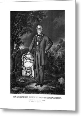 General Lee Visits The Grave Of Stonewall Jackson Metal Print
