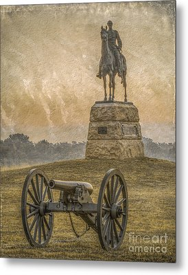 General Meade Statue And Cannon Gettysburg Metal Print