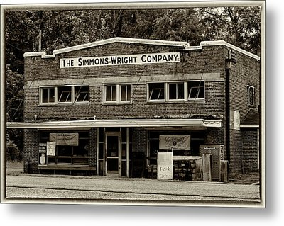 General Store - Vintage Sepia With Border Metal Print by Stephen Stookey