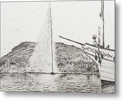 Geneva  Fountain And Bow Of Pleasure Boat Metal Print by Vincent Alexander Booth