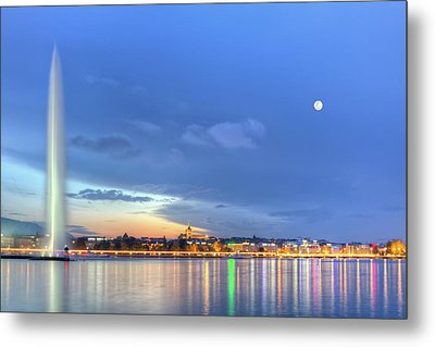 Geneva Lake With Famous Fountain, Switzerland, Hdr Metal Print