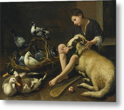 Genre Scene Of A Seated Boy With Bat Metal Print