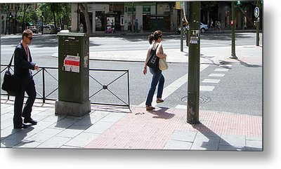 Gentleman And Lady On Princesa Street - Madrid Metal Print by Thomas Bussmann
