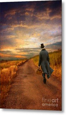 Gentleman Walking On Rural Road Metal Print by Jill Battaglia