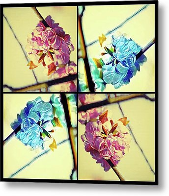 Geometric Blossoms Metal Print