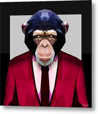 Geometric Chimpanzee Metal Print