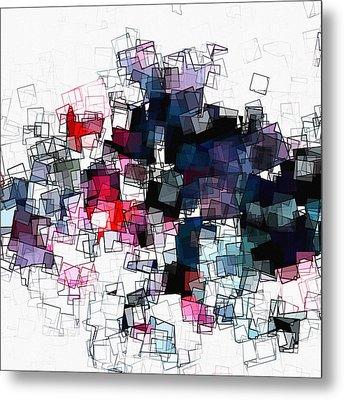 Geometric Skyline / Cityscape Abstract Art Metal Print by Ayse Deniz