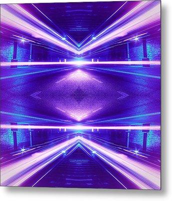 Geometric Street Night Light Pink Purple Neon Edition  Metal Print by Philipp Rietz