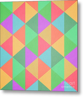 Geometric Triangles Abstract Square Metal Print