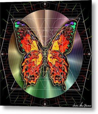 Metal Print featuring the digital art Geometron Fyr Lepidoptera by Iowan Stone-Flowers