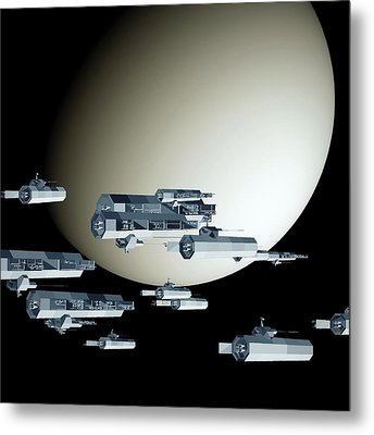Geometry Spaceships Metal Print by GuoJun Pan