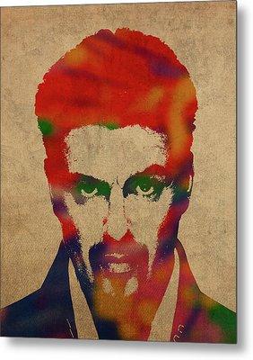 George Michael Watercolor Portrait Metal Print