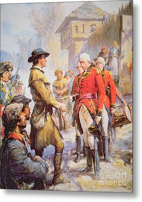 George Rogers Clark Accepts The Surrender Of British Commander Henry Hamilton At Fort Sackville Metal Print by Newell Convers Wyeth