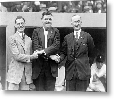Metal Print featuring the photograph George Sisler - Babe Ruth And Ty Cobb - Baseball Legends by International  Images