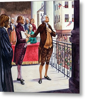 George Washington Being Sworn In As President Of The United States Metal Print by Peter Jackson