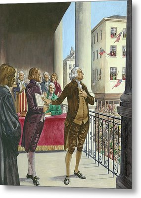 George Washington Being Sworn In As The First President Of America In New York Metal Print by Peter Jackson