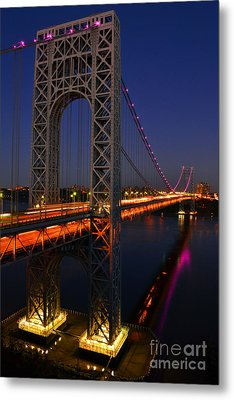 George Washington Bridge At Night Metal Print by Zawhaus Photography