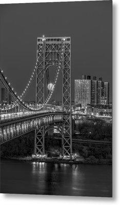 George Washington Bridge Full Moonrise Bw Metal Print