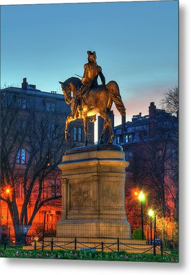 Metal Print featuring the photograph George Washington Statue In Boston Public Garden by Joann Vitali