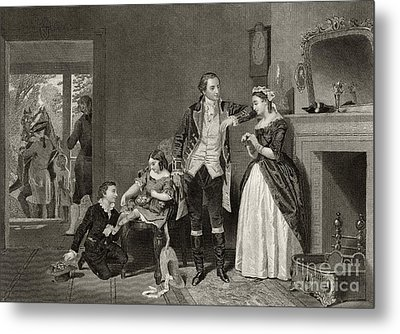 George Washington's First Interview With Mrs Martha Custis Metal Print by Alonzo Chappel