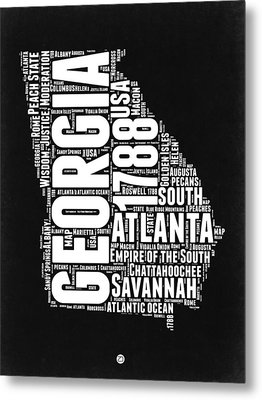 Georgia Black And White Word Cloud Map Metal Print
