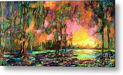 Georgia Landscape Okefenokee Sunset  Metal Print by Ginette Callaway