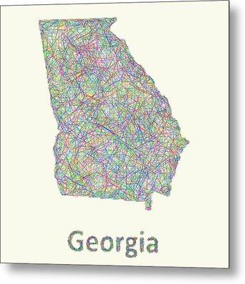 Georgia Line Art Map Metal Print