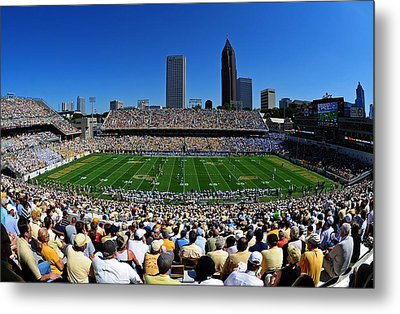 Georgia Tech Bobby Dodd Stadium And Atlanta Skyline  Metal Print by Getty Images