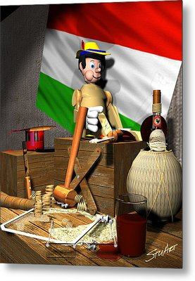 Geppettos Workbench-the Creation Of Pinocchio Metal Print