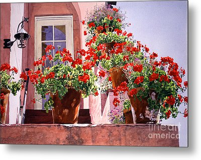 Geraniums At The Top Of Stairs Metal Print by David Lloyd Glover