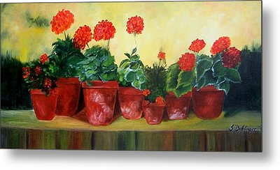 Metal Print featuring the painting Geraniums In A Row-- Sold by Susan Dehlinger