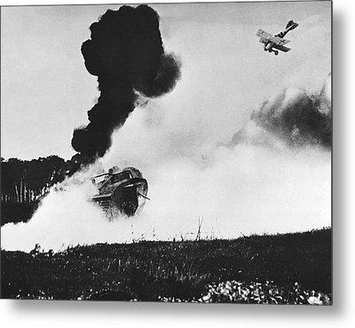 German Biplane Attacks Tank Metal Print by Underwood Archives