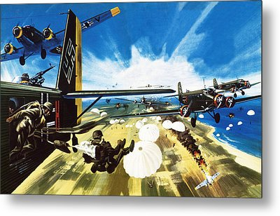 German Paratroopers Landing On Crete During World War Two Metal Print by Wilf Hardy