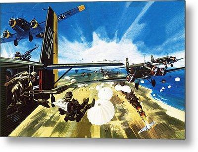 German Paratroopers Landing On Crete During World War Two Metal Print