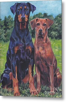 Metal Print featuring the painting German Pinschers by Lee Ann Shepard