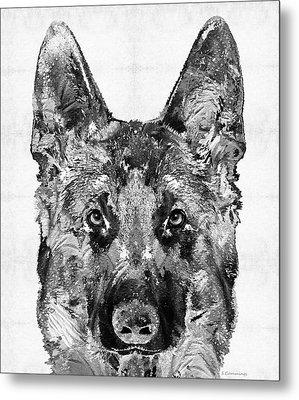German Shepherd Black And White By Sharon Cummings Metal Print