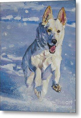 German Shepherd White In Snow Metal Print