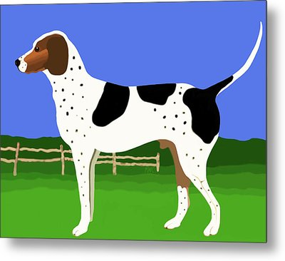 German Shorthaired Pointer In A Field Metal Print by Marian Cates