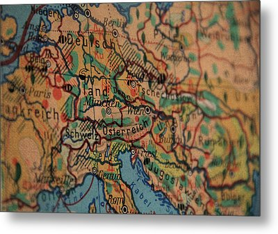 German Vintage Map Of Central Europe From Old Globe Metal Print