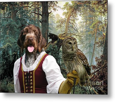 German Wirehaired Pointer Art Canvas Print - Lady Owl And Little Bears Metal Print