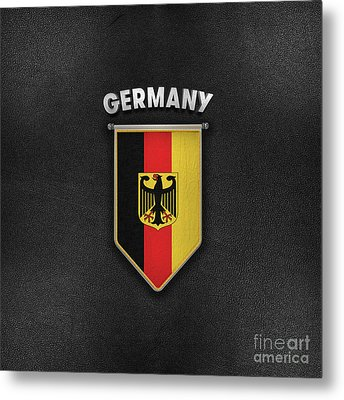 Germany Pennant With Leather Style Background Metal Print by Carsten Reisinger
