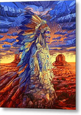 Geronimo Decorative Portrait Metal Print
