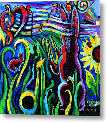 Rabbit Conducting A Mid-summer Nights Symphony Metal Print by Genevieve Esson