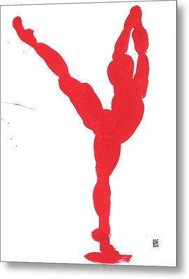 Gesture Brush Red 1 Metal Print