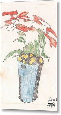 Metal Print featuring the drawing Gesture Drawing Of Poinsettia by Rod Ismay
