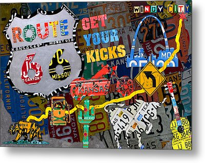 Get Your Kicks On Route 66 Icons Along The Highway Recycled Vintage License Plate Art Metal Print