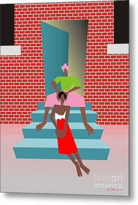 Gettin Her Hair Did Metal Print by Walter Oliver Neal